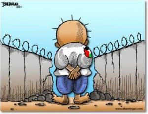 Filistin'in 'duran çocuğu', çizer Naji al-Ali'nin yarattığı Handala karakteri. (Karikatür: David Baldinger)